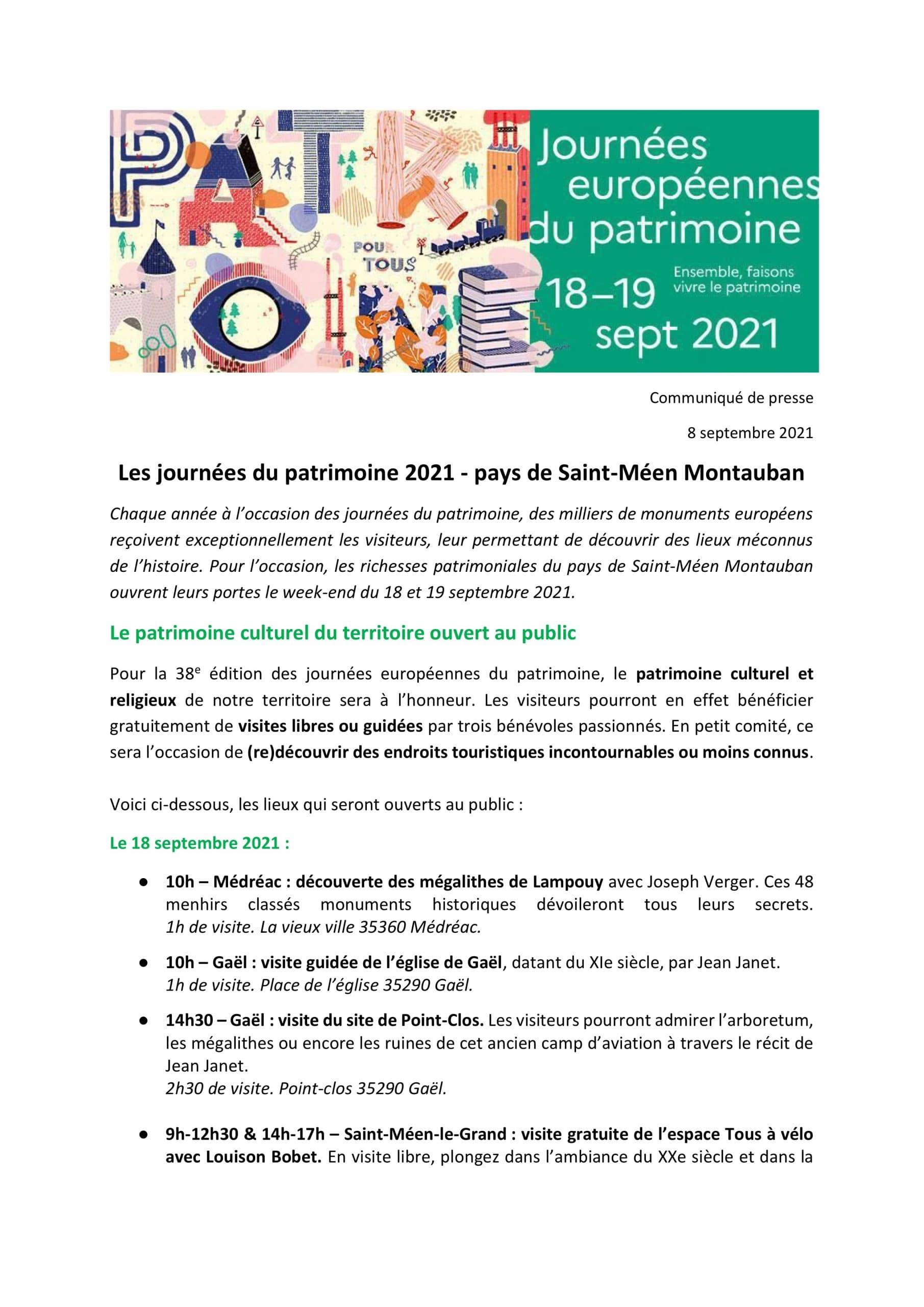 JOURNEES DU PATRIMOINE : 18/19 SEPTEMBRE 2021
