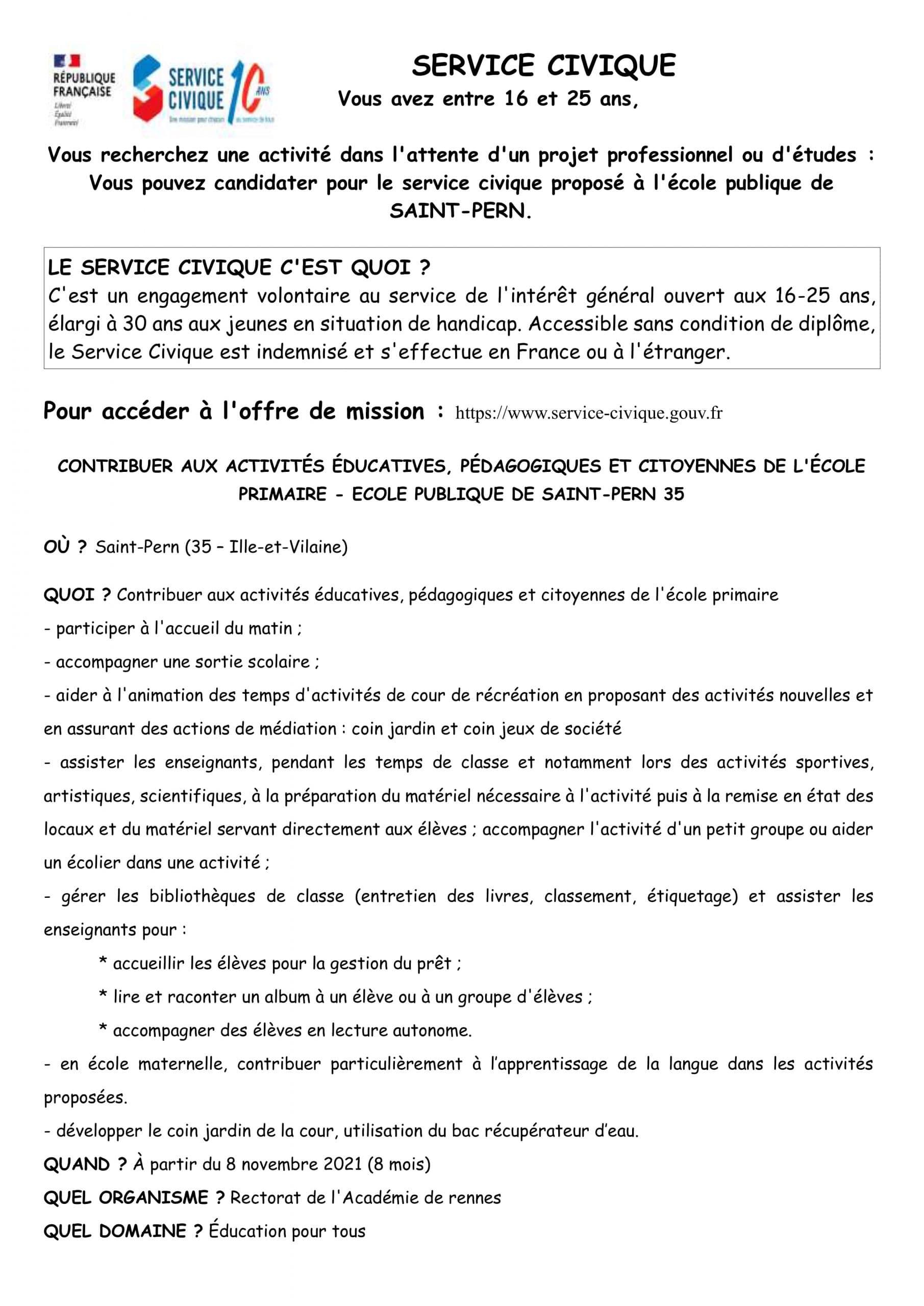 OFFRE D'EMPLOI DE SERVICE CIVIQUE – ECOLE DE SAINT PERN
